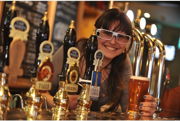 30/01/15 Beer gogglesReasearch assistant Nataliia Bobrova wearing the glasses. Picture: Warren Gunn